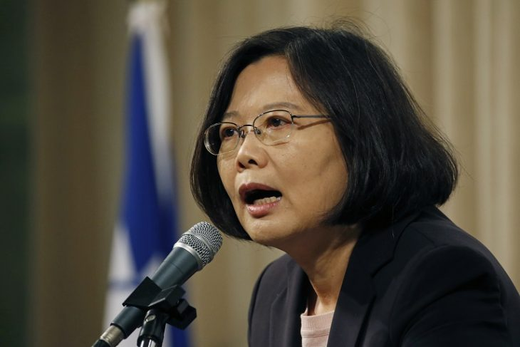 Chairwoman and 2016 presidential candidate of Taiwan's opposition Democratic Progressive Party (DPP) Tsai Ing-wen delivers a keynote speech on her foreign policy at a reception for foreign diplomats in Taipei, Taiwan, Tuesday, Sept. 22, 2015. (AP Photo/Wally Santana)